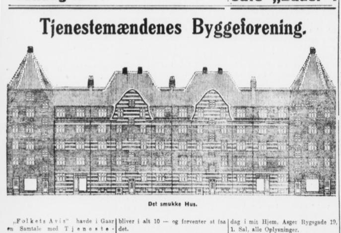 Foto til samling af avisartikler om A/B Tjenestemændenes Byggeforening